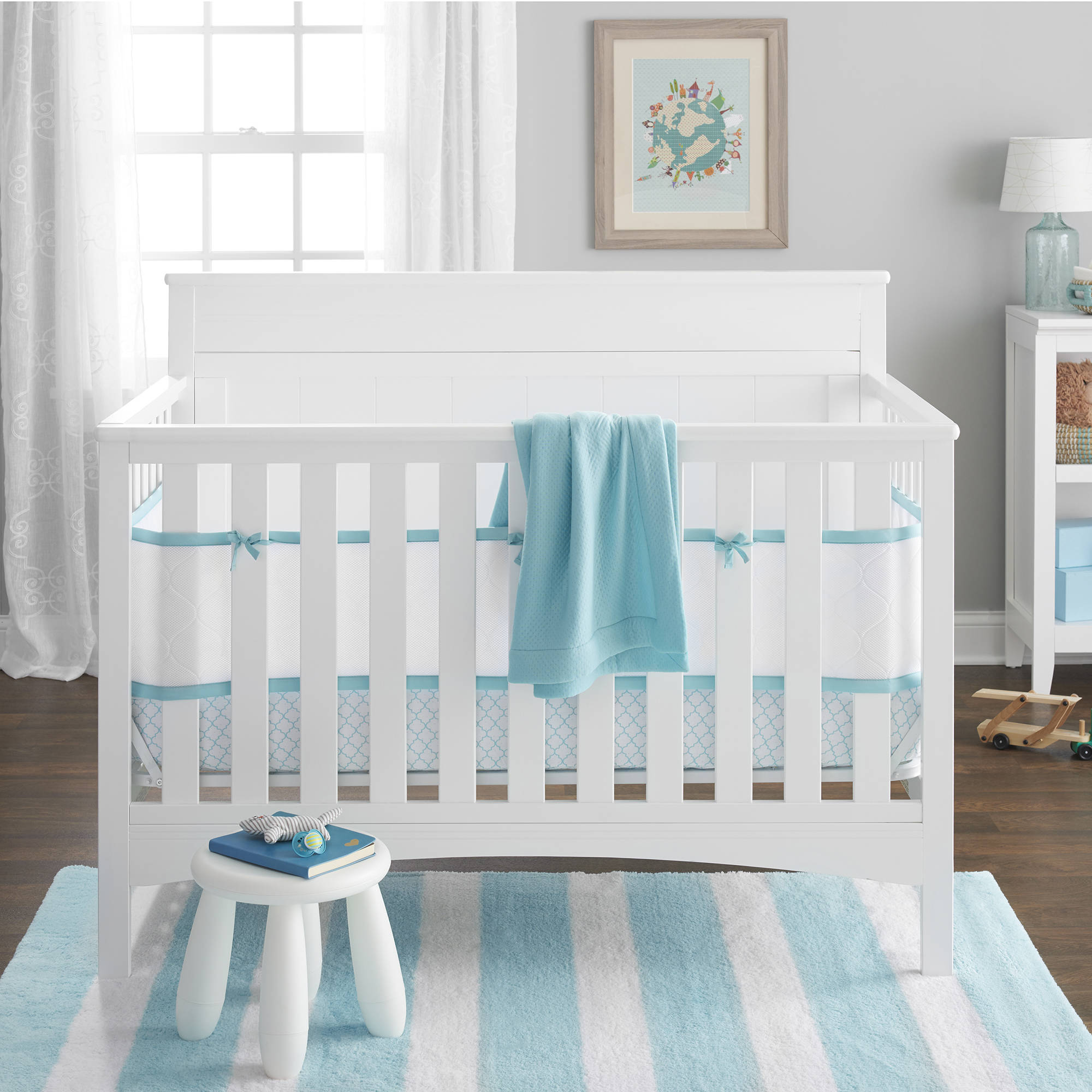 BreathableBaby 4-Piece Deluxe Breathable Embossed Crib Bedding Set, Seafoam