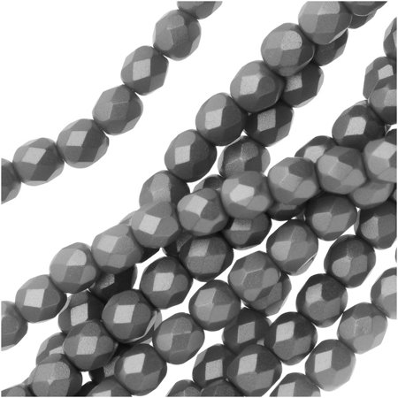 Czech Fire Polished Glass, Faceted Round Beads 4mm, 38 Pieces, Pastel Gray / Silver