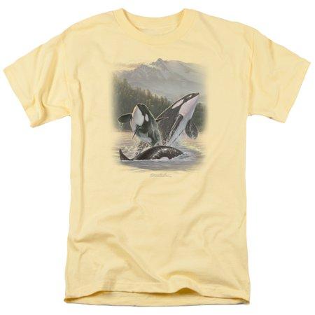 Trevco WILDLIFE BREACHING ORCAS Banana Adult Unisex T-Shirt - Adult Banana Suit