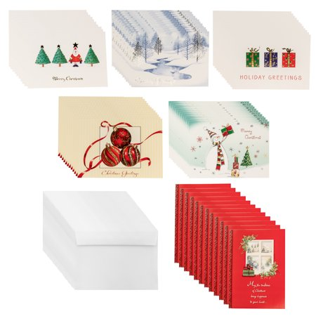 Designer Greetings (72ct) Holiday Cards & Envelopes Christmas Greetings Bulk Boxed Sets Glitter Foil