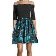 BETSY & ADAM Womens Black Floral Long Sleeve Off Shoulder Mini Fit + Flare Formal Dress  Size: 4