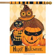 "halloween party primitive house flag jack o'lantern black cat owl 28"" x 40"""