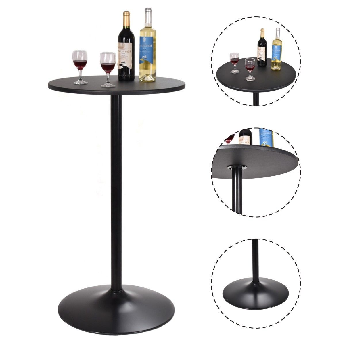 Costway 24'' Dia Round Pub Table Bistro Pub Counter Home Outdoor Indoor Kitchen Furniture by Costway