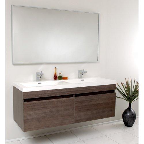 Fresca Largo 56.5-in. Wavy Double Sink Modern Bathroom Vanity FVN8040GO