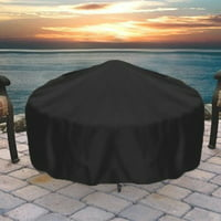 Sunnydaze Heavy-Duty Weather-Resistant Round Fire Pit Cover with Drawstring and Toggle Closure, Black PVC, 58 Inch Diameter