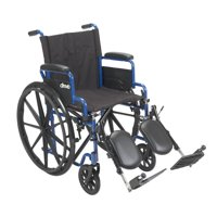 "Drive Medical Blue Streak Wheelchair with Flip Back Desk Arms, Elevating Leg Rests, 18"" Seat"