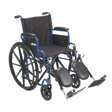 Drive Medical Blue Streak Wheelchair with Flip Back Desk Arms, Elevating Leg Rests, 18