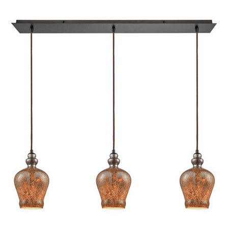 Pendants 3 Light With Oil Rubbed Bronze Finish Black Chrome Plated with Fiery Lava Tones Medium Base 36 inch 180 Watts - World of Lamp
