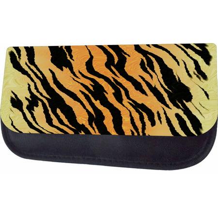 Tiger Print Black Multi-Purpose Cosmetic Case - Bag - with 2 Zippered Pockets and Nylon Lining Tiger Print Handbag