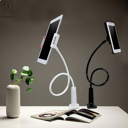 Gustavedesign Gooseneck 360 Flexible Lazy Holder For Desk Adjustable Universal Smartphone Stand With Durable Rubberized Mount Black