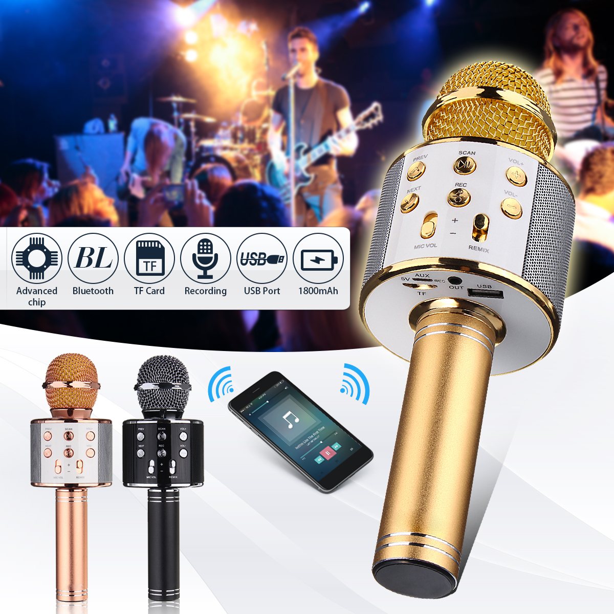 Wireless WS-858 Handheld Karaoke Microphone KTV Player USB Bluetooth Mic Speaker