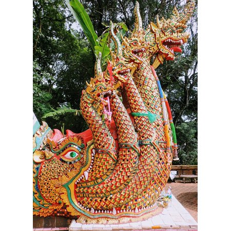 Thai Silver Snake - LAMINATED POSTER Sculpture Thailand Asia Dragon Statues Snake Poster Print 24 x 36