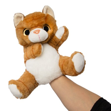 "Wild Republic 10"" Tabby Cat Stuffed Animal Plush Toy Pretend Play Hand Puppets Kids Toys Stuffed Animals Big Mouth Animal Puppets"