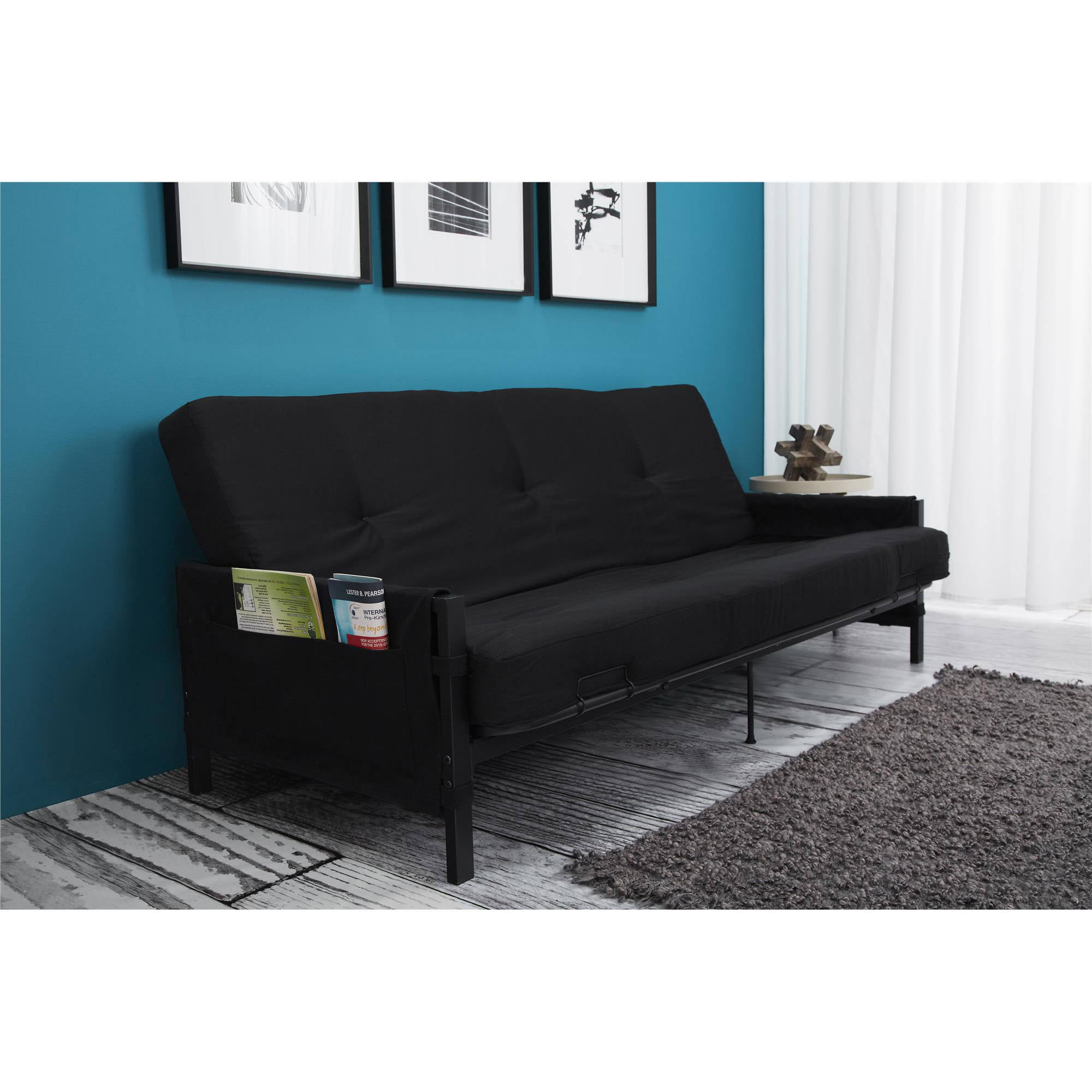Medium image of mainstays fairview storage arm futon with 6   mattress black   walmart