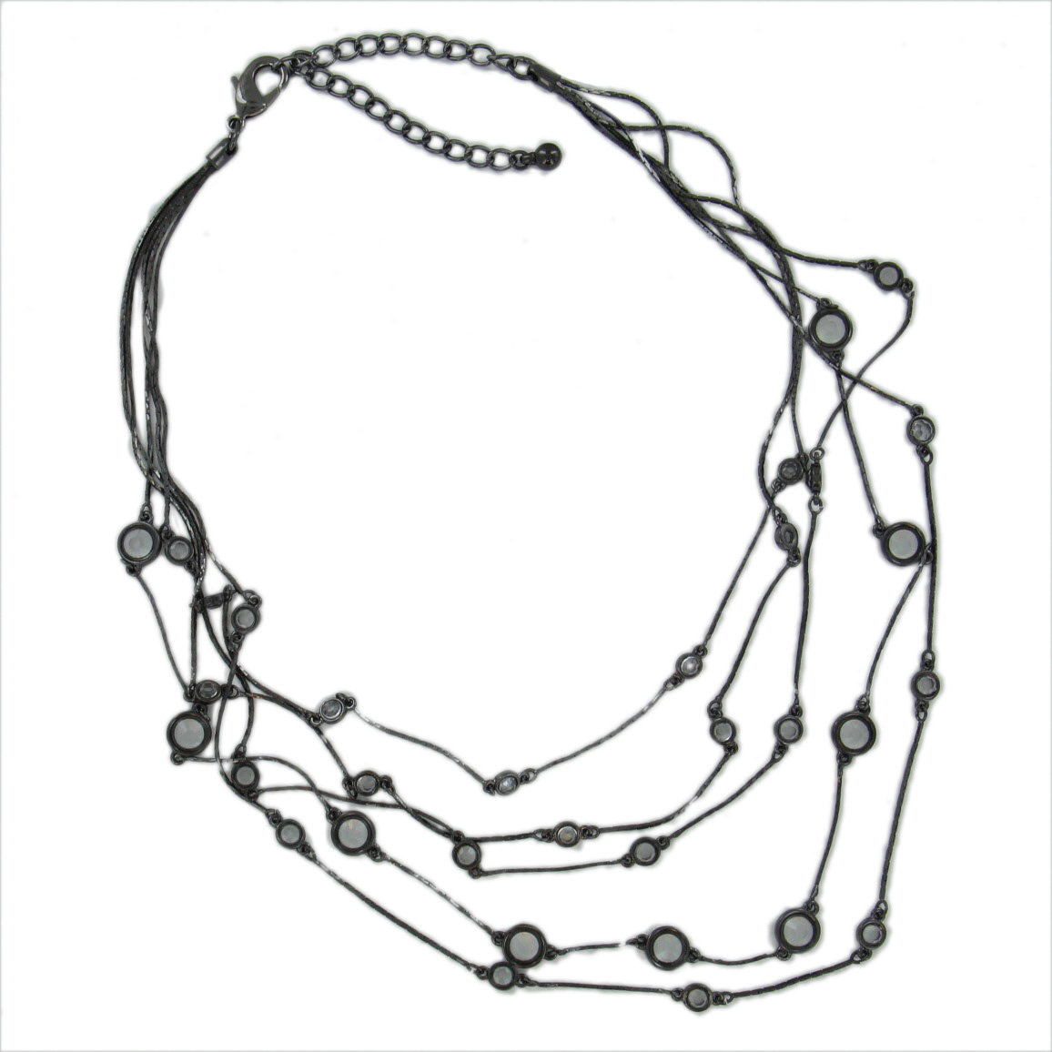 Gun Metal Gray Tone Multistrand 5 Strand Clear Glass Bead Serpentine Chain Necklace