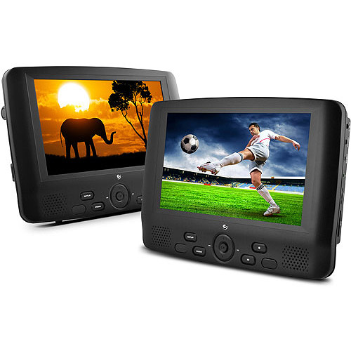 "Ematic 9"" Dual Screen Portable DVD Player with Dual DVD Players (ED929D)"