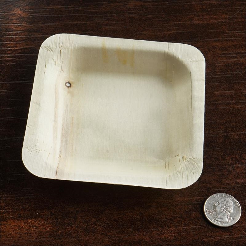 "BalsaCircle 25 pcs 4.5"" Disposable Natural Birch Wooden Mini Square Plates - Eco Friendly Biodegradable Wedding Party Tableware"