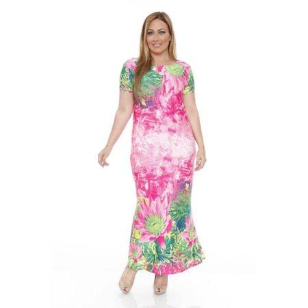 White Mark - White Mark Plus Size Tie-Dye Floral Maxi Dress Hawaiian ...