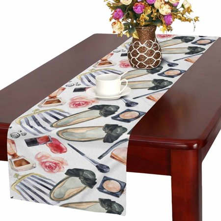 Linen Wedding Clothes - MKHERT Watercolor Women's Beauty Fashion Cosmetics and Clothes Table Runner for Office Kitchen Dining Wedding Party Banquet 16x72 Inch