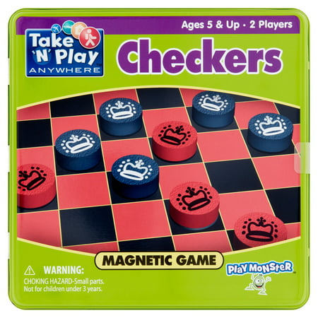 Play Monster Take 'N' Play Anywhere Checkers Magnetic Game Ages 5 & - Magnetic Travel Games