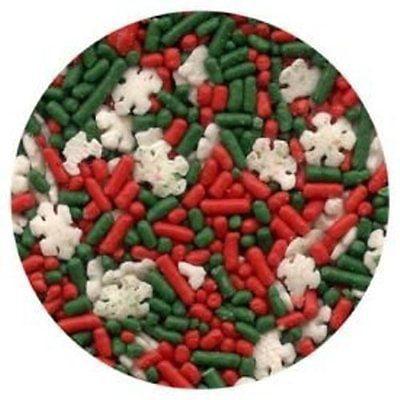 Christmas Noel Blend Sprinkles Red & Green Jimmies with Snowflakes - 2.6 oz - National Cake - Snowflake Sprinkles