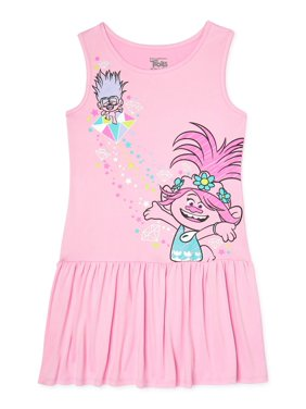 Trolls Girls Drop Waist Tank Dress, Sizes 4-8