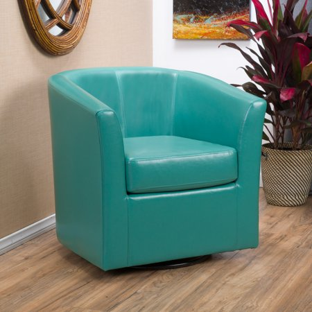 Noble House Dillon Turquoise Faux Leather Swivel Club Chair Eco Leather Club Chair