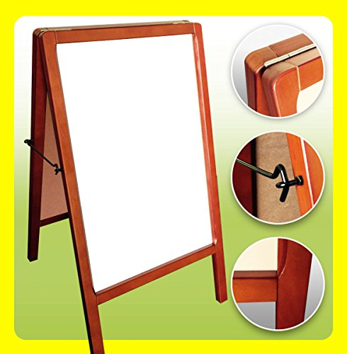 "GHP 19.75"" x 39.5"" Double Sided Wood Frame White Marker Sidewalk Store Sign Board"