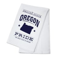 Oregon State Pride - Blue on White - Lantern Press Artwork (100% Cotton Kitchen Towel)