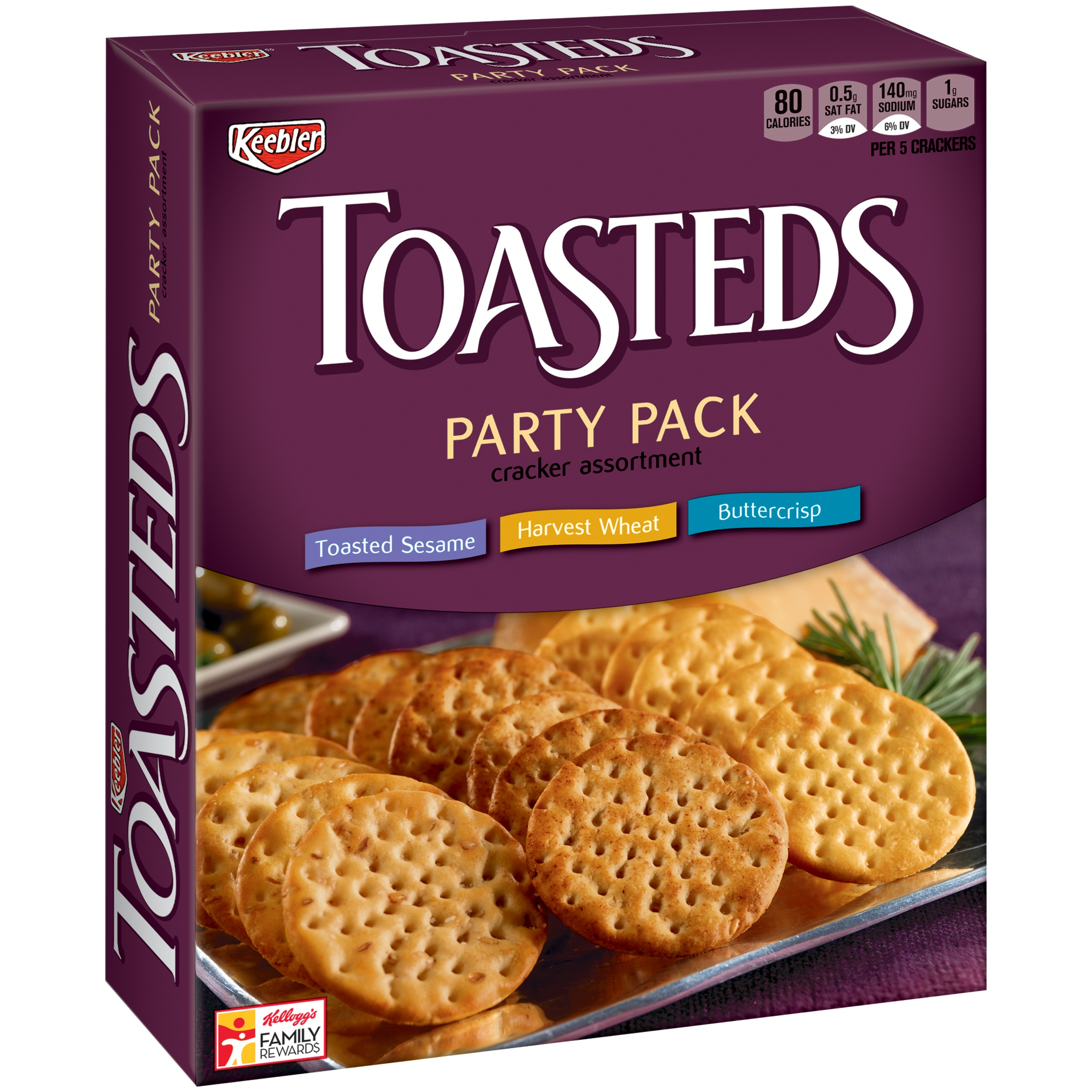 Keebler Toasteds Cracker Assortment Party Pack, 12 oz