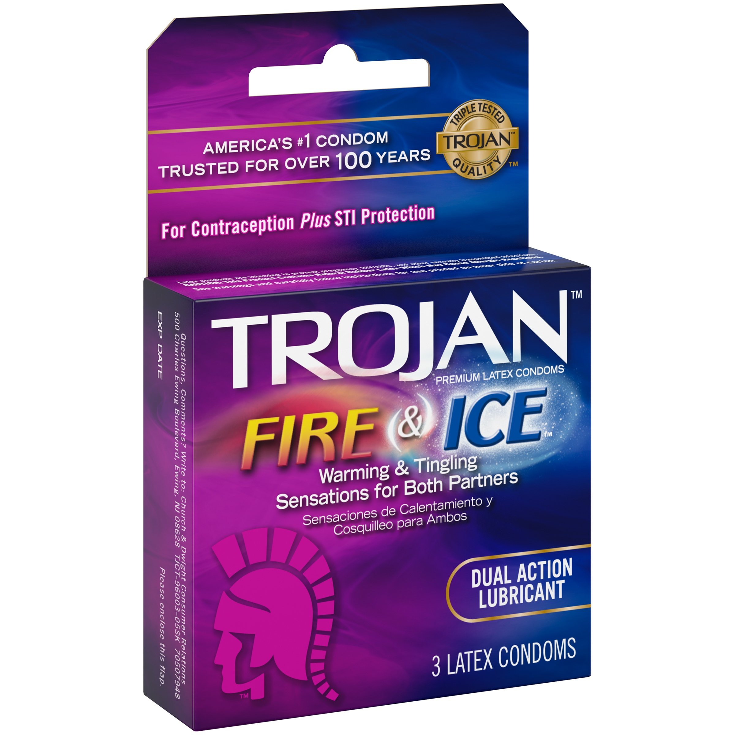 Trojan Fire and Ice Lubricated Latex Condoms - 3 ct