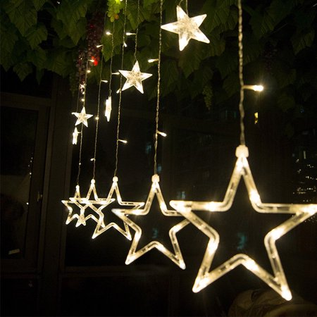 16.4 ft x 3.3 ft 12 Stars 138 LED Curtain String Lights Fairy Lights with 8 Light Modes for Christmas Wedding Garden Patio Lawn Window Celebration Decoration (Star String Lights)