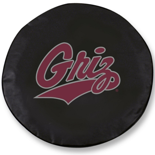 NCAA Tire Cover by Holland Bar Stool - Montana Grizzlies, Black - 29.75 L x 8 W