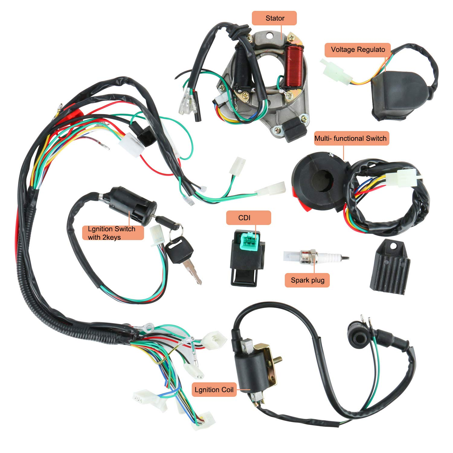 YaeGarden Complete Electrics Stator Coil CDI Wiring Harness Kit CDI Wire  Assembly for 4 Stroke ATV KLX 50cc 70cc 110cc 125cc Quad Bike Buggy Go Kart  - Walmart.com - Walmart.comWalmart