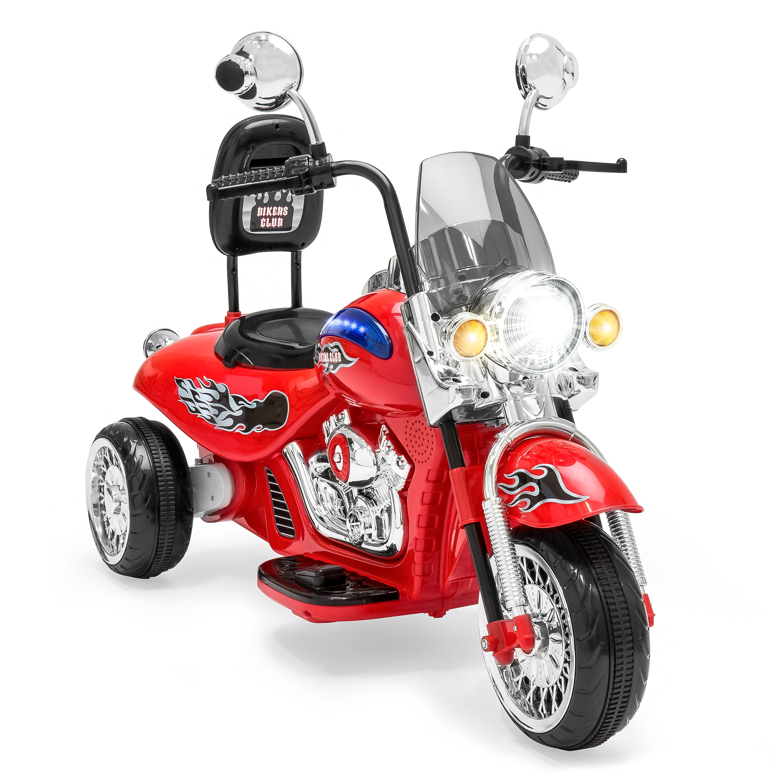 Best Choice Products 12V Kids Ride-On Motorcycle Chopper w/ Built-In Music, MP3 Plug-In - Red