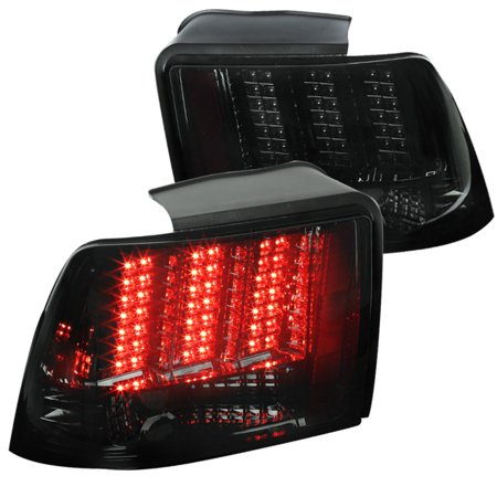 Spec-D Tuning For 1999-2004 Ford Mustang Chrome Smoke Sequential Led Tail Lights Brake Lamps Pair (Left+Right) 1999 2000 2001 2002 2003 2004