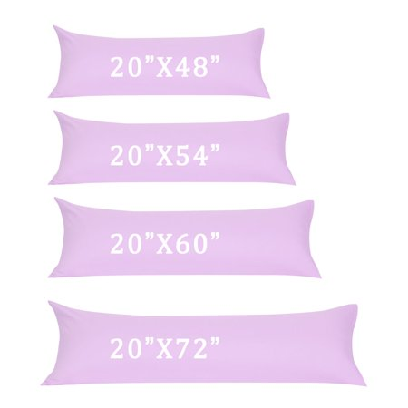 Zippered Body Pillow Case Cover Soft Microfiber Long Pillowcases Violet 20x48 - image 1 of 8