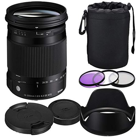 Sigma 18-300mm f/3.5-6.3 DC Macro OS HSM Contemporary Lens for Canon + Prime Accessory