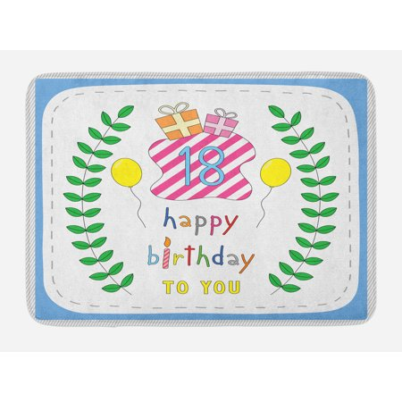 18th Birthday Bath Mat, Baby Blue Backdrop with Branches Balloons Boxes Party Image Artwork Print, Non-Slip Plush Mat Bathroom Kitchen Laundry Room Decor, 29.5 X 17.5 Inches, Blue and White, Ambesonne