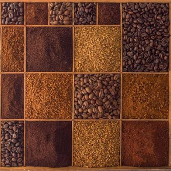 Variety of coffee beans in a wooden box Canvas Art - Assaf Frank (24 x 24)