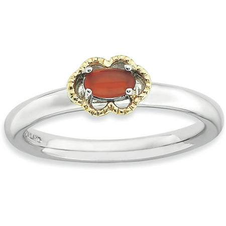 Red Agate Sterling Silver and 14kt Gold Polished Ring