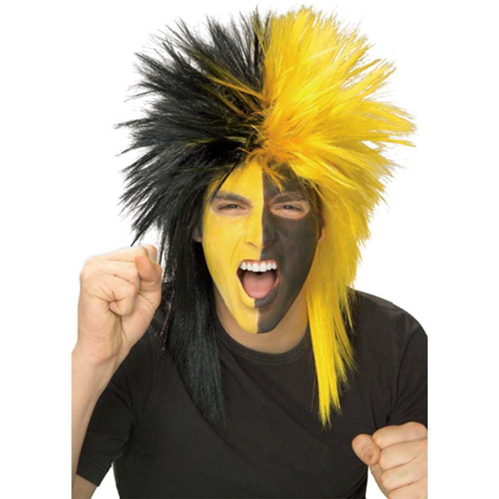 Adult Black and Yellow School and Team Spirit Sports Fanatix Wig