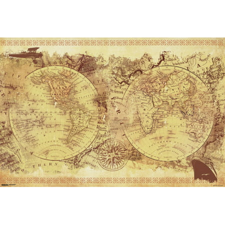 (Malcolm Watson Vintage Collage World Map Old World Renaissance Art Style Classroom Poster - 36x24 inch)