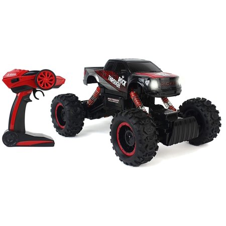 Remote Control 1:14 Scale Black Cross-Country Racing Rock Crawler 4WD Rally Truck w/ Working Suspension, Spring Shock Absorbents