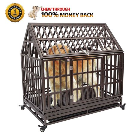 Orno Ttobe Heavy Duty Dog Crate Strong Metal Pet Kennel Playpen With Two Prevent Escape Lock Large Dogs Cage Wheels Black