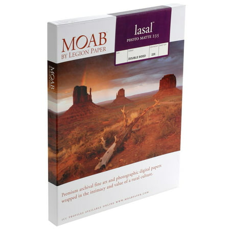 Moab Lasal Photo Matte, Double Sided, Bright White Archival Scored Inkjet Paper Cards, 235gsm, 7x10