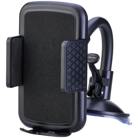 ONN Window or Dash Mount Mobile Device Holder, Sturdy Base for Secure Mount ()