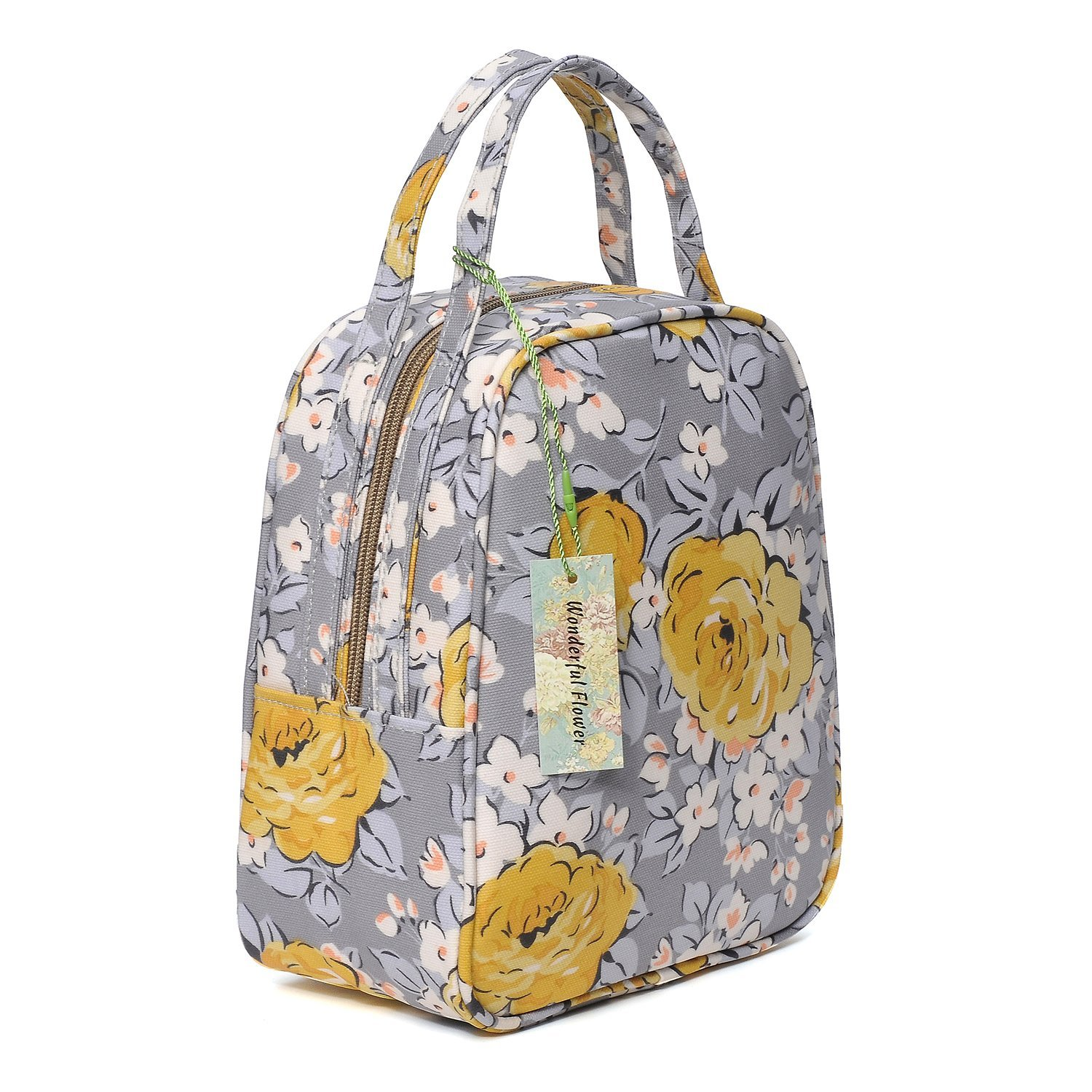 c9af9b4e42b9 women insulated fashionable lunch bag flower Small Lunch Bag Lunch Bunch  (G05Gray/Yellow)