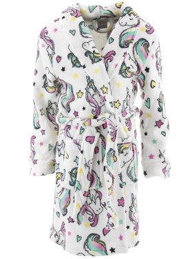 5b4110f1c Product Image Sweet-N-Sassy Girls Unicorns White Fleece Bathrobe