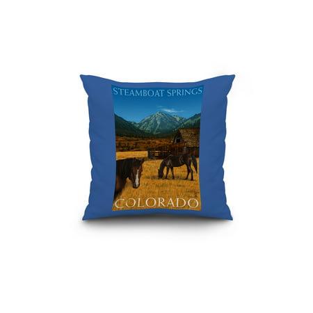 Steamboat Springs Colorado Horses and Barn Lantern Press Poster 18x18